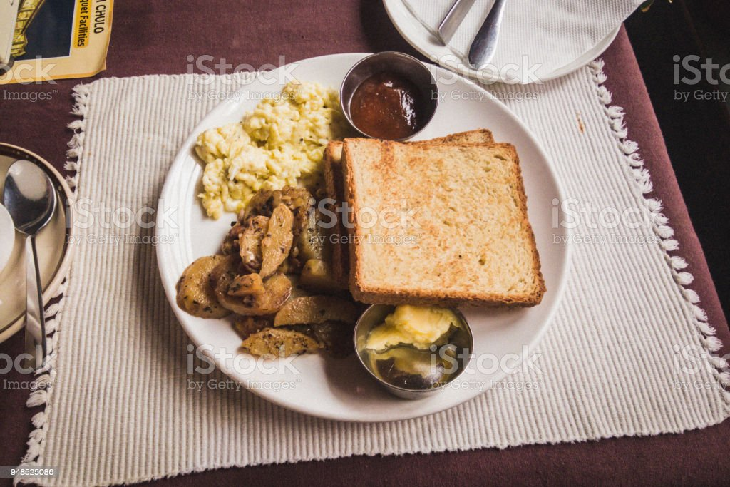 Breakfast with toast, eggs and potatoes, Thamel, Kathmandu, Nepal stock photo