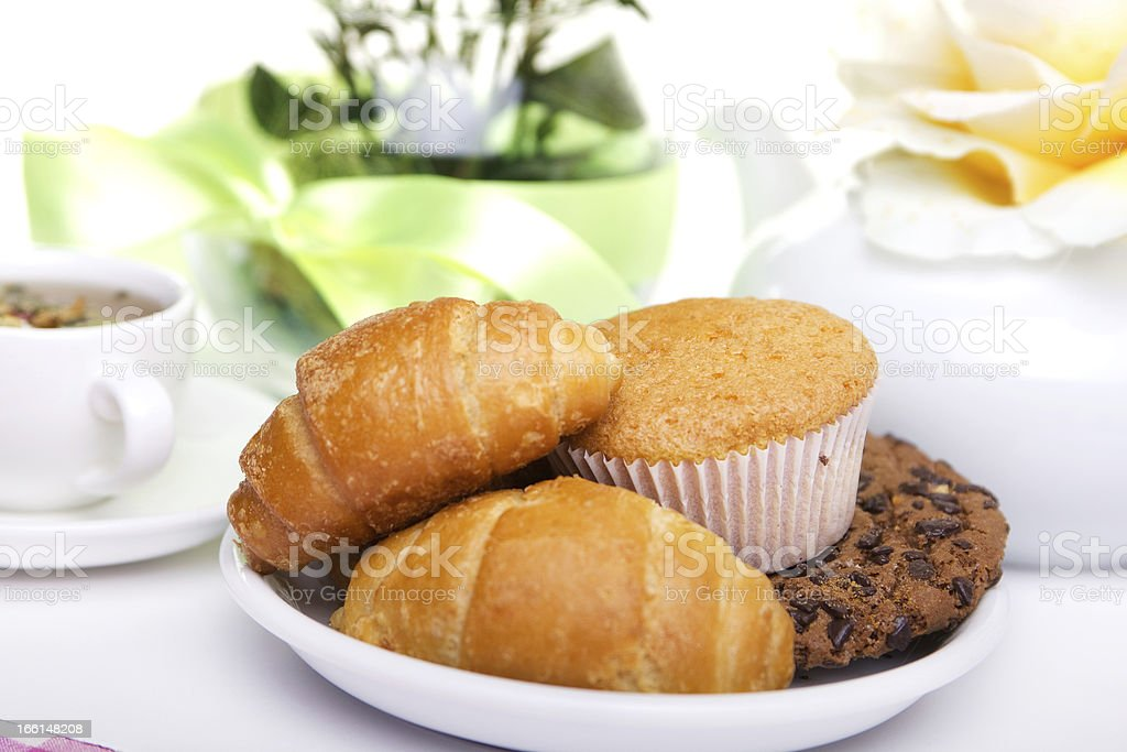 breakfest with tea and fresh baking royalty-free stock photo