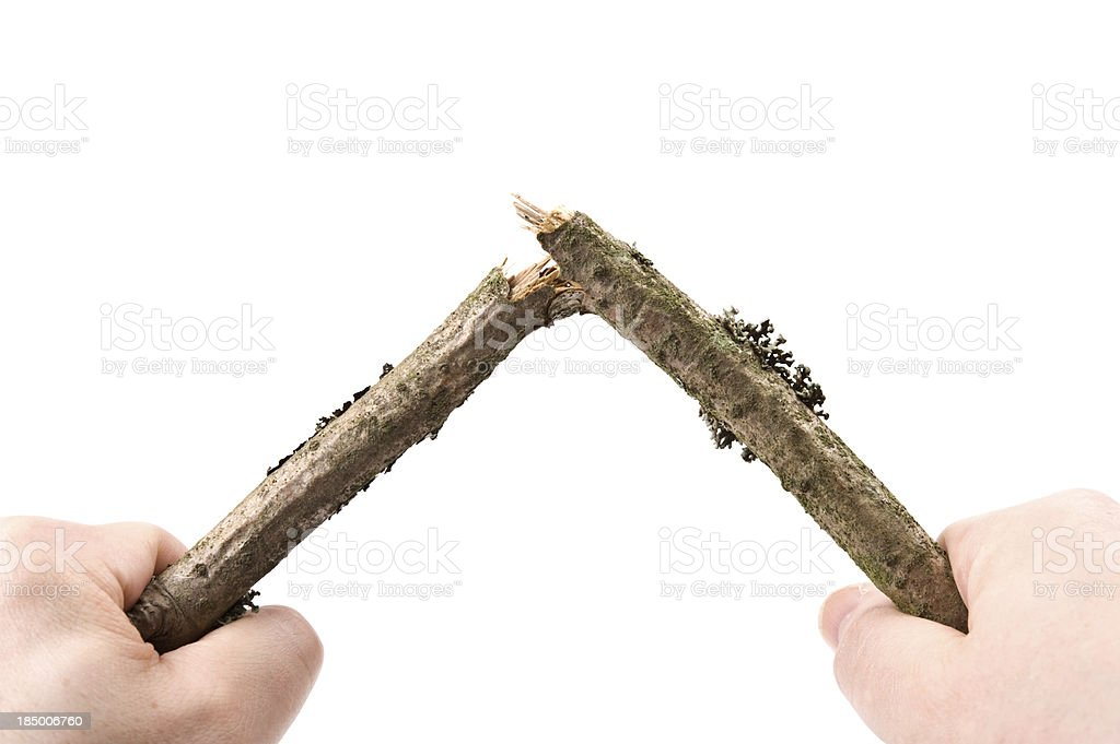 Breaking a twig stock photo
