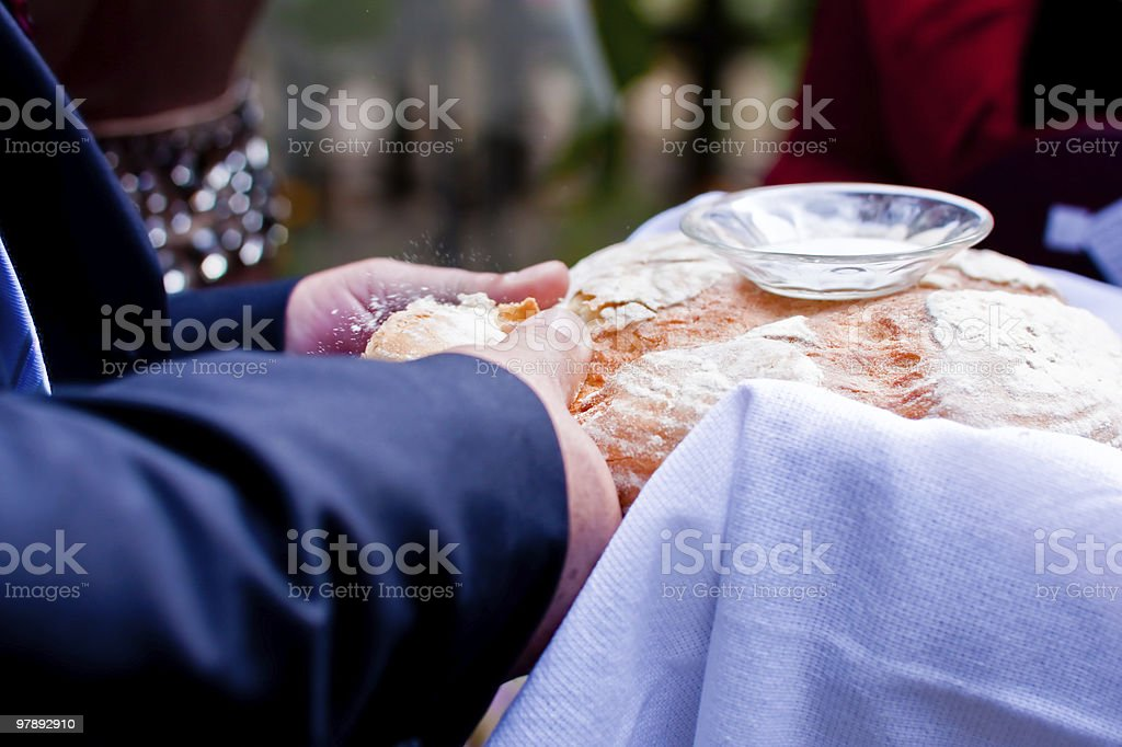 breaking bread royalty-free stock photo