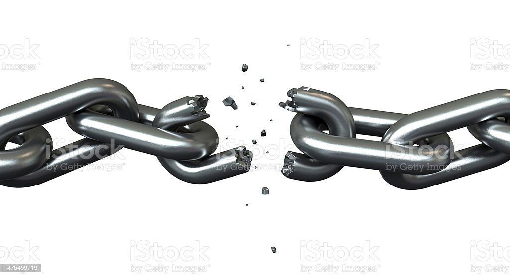 Breaking chains stock photo