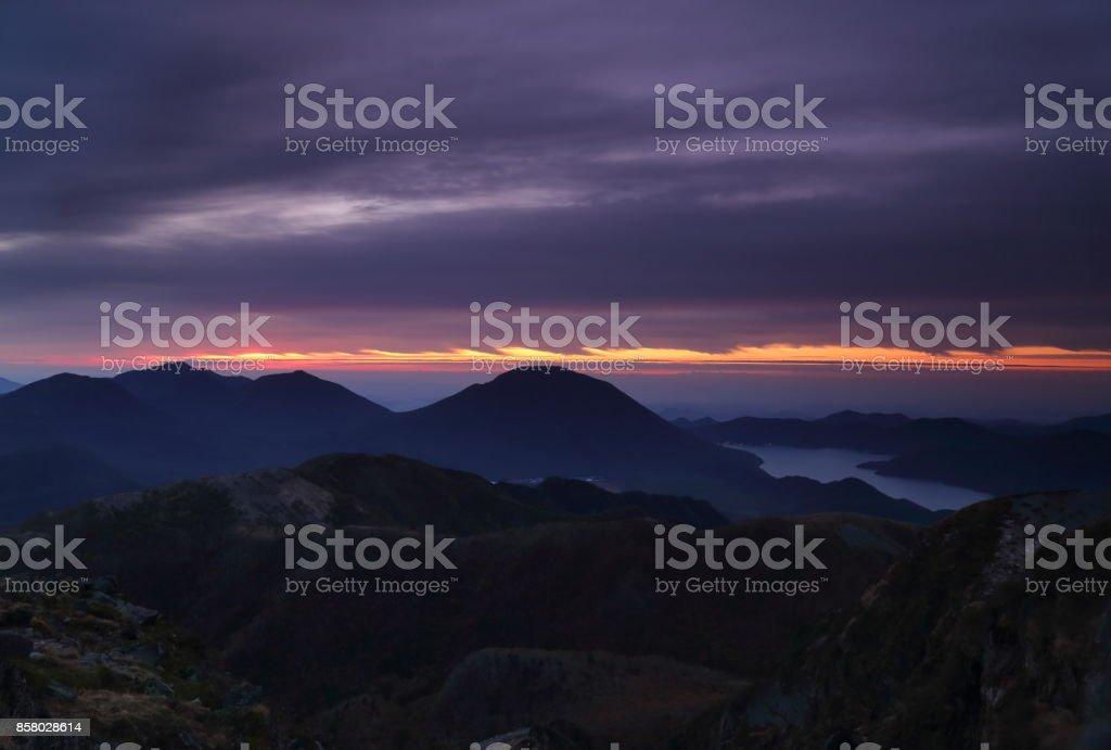 Breaking dawn at Mt.Nikko-Shirane stock photo