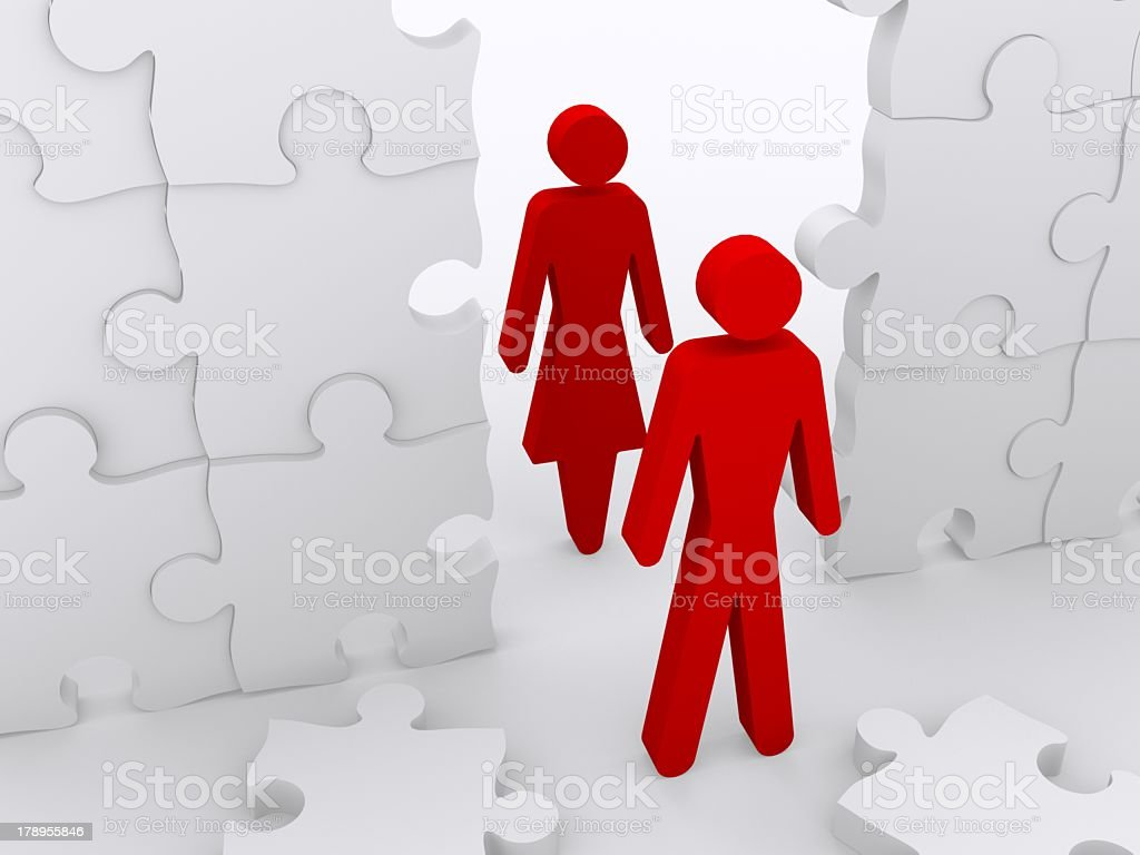 Breaking Down The Walls Between Partners royalty-free stock photo