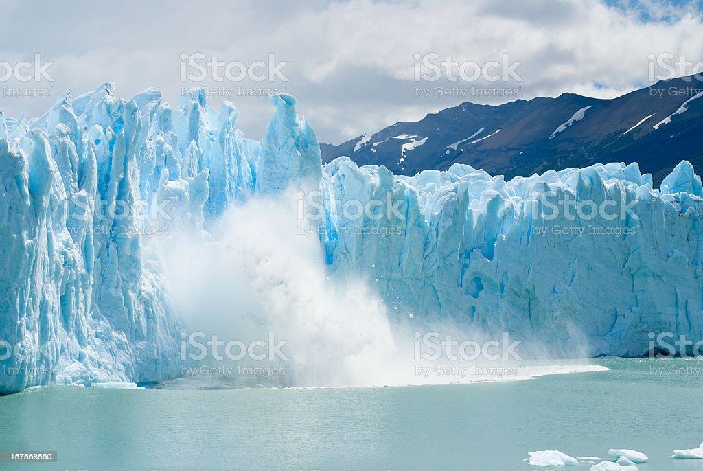 breaking ice formations falling from Perito Moreno Glacier royalty-free stock photo