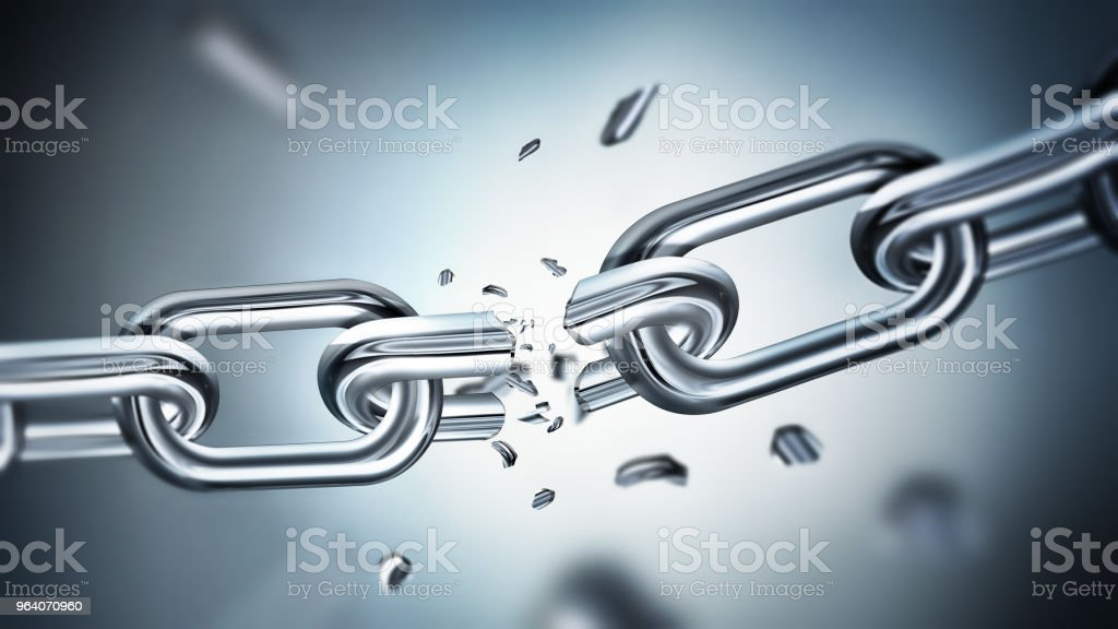 Breaking metal chain - Royalty-free Attached Stock Photo