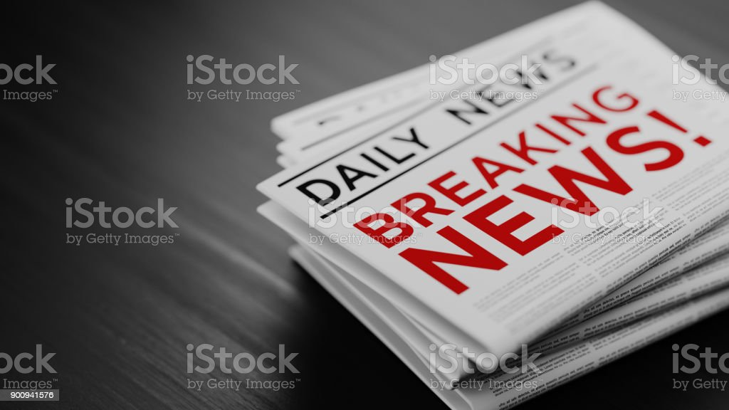 Breaking News Concept Newspaper Pile On Black Wood Surface stock photo
