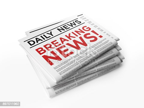 Breaking news concept. Horizontal composition with copy space. Clipping path is included. High angle view.