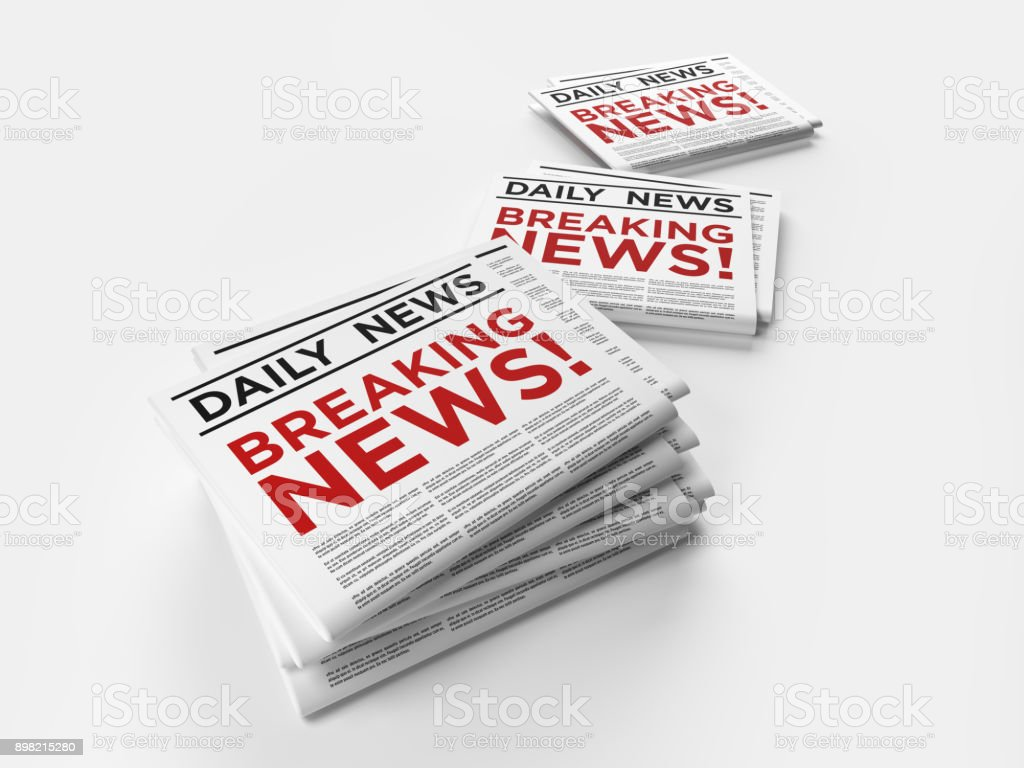 Breaking News Concept On White Background stock photo