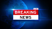 Breaking news title on world map over blue background. Breaking news concept. Horizontal composition with selective focus and copy space. Front view.