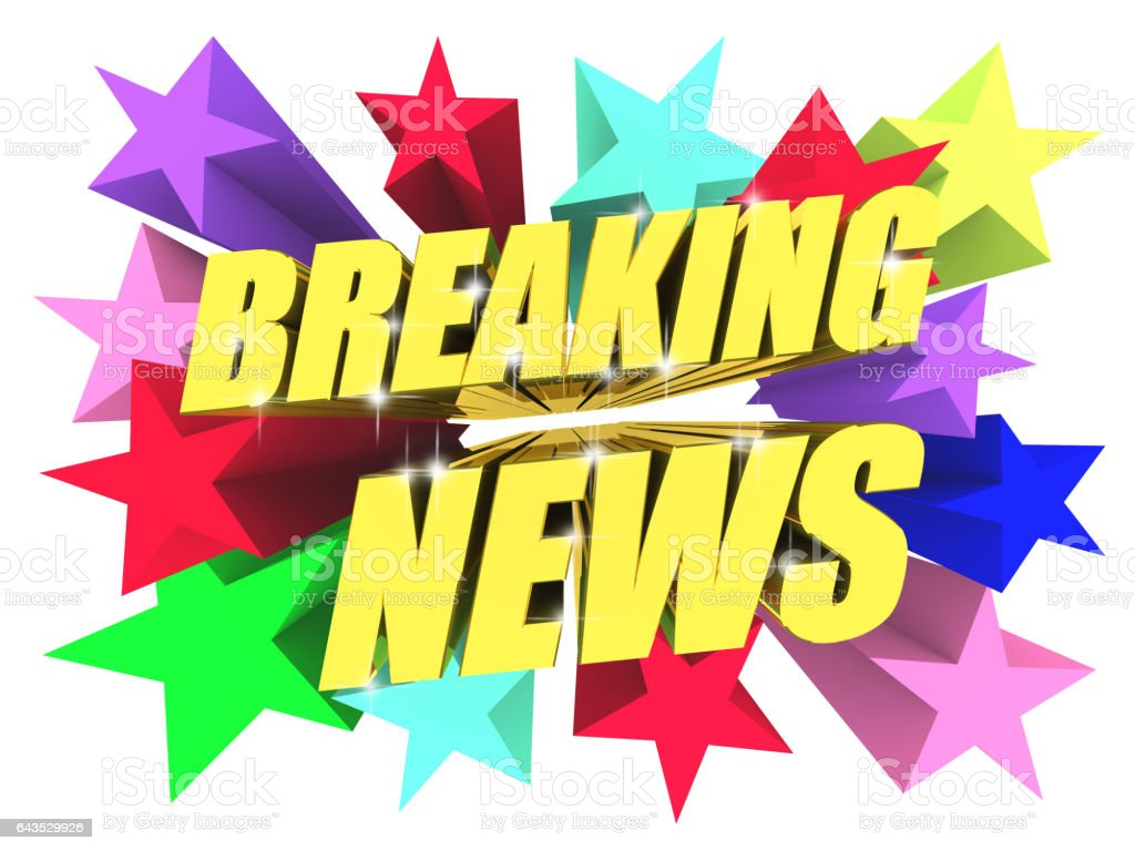 Breaking News golden Text unter hellen bunten Sternen. 3D render – Foto