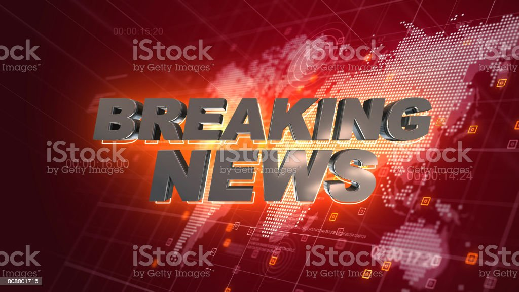Breaking News Graphics World Map Red Background stock photo
