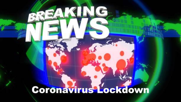 breaking news intro title. länder in sperre mit weltkarte und betroffene gebiete - standbildaufnahme stock-fotos und bilder