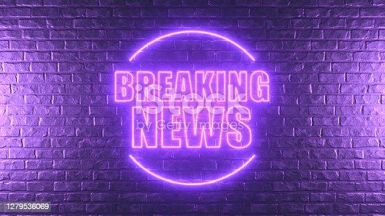 3D Rendering Brick Wall with Breaking News Sign, Neon lighting.