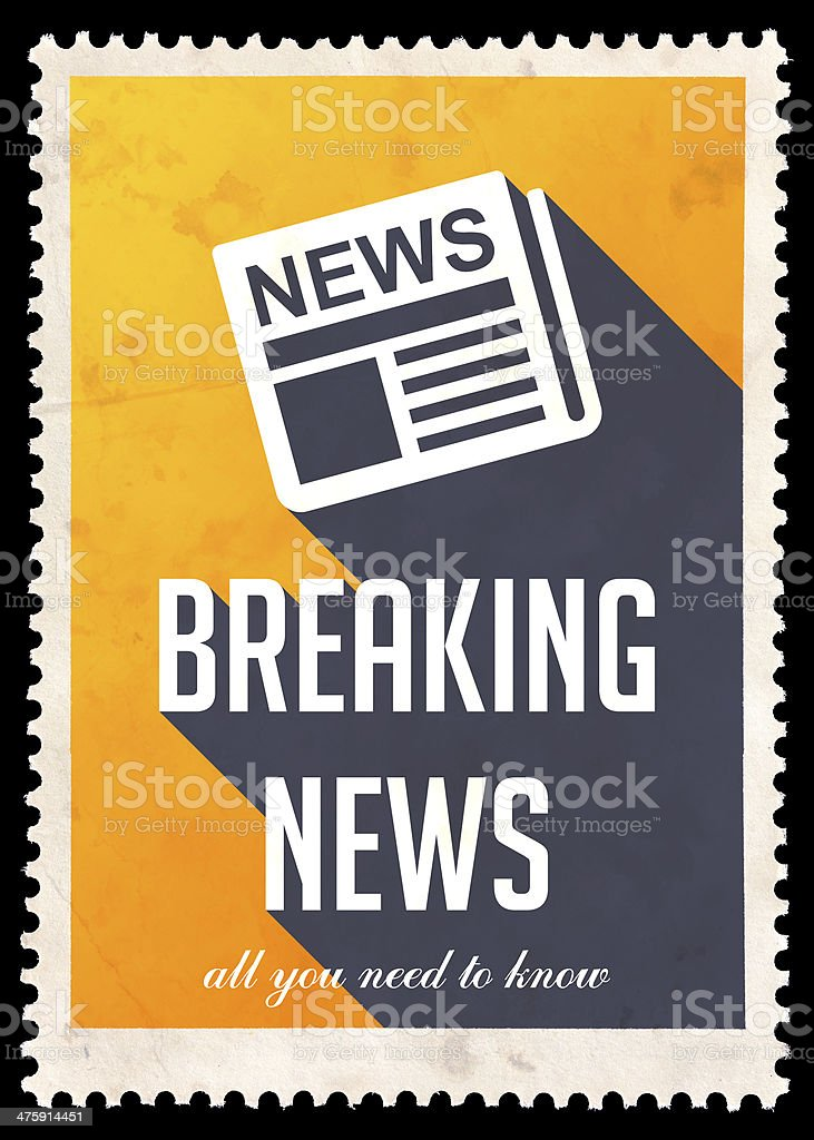 Breaking News on Yellow in Flat Design. royalty-free stock photo