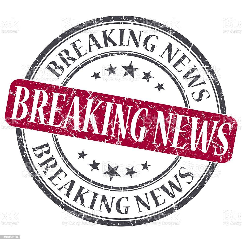 Breaking News red grunge round stamp on white background stock photo