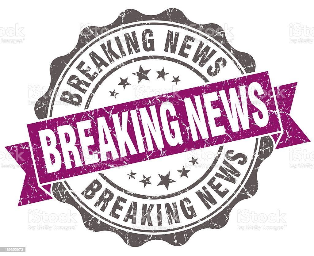Breaking news violet grunge retro vintage isolated seal stock photo