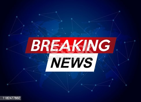 Breaking news. World news with map backgorund. Breaking news TV concept. Vector stock.