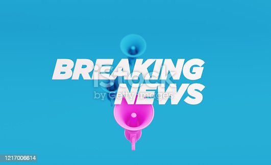 Breaking News written over blue and pink megaphones on blue background. Horizontal composition with copy space. Breaking News concept.