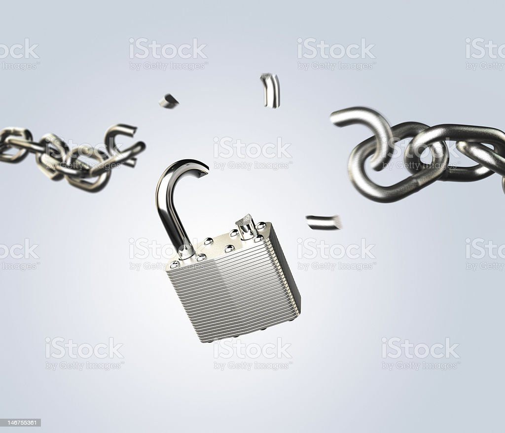 breaking padlock stock photo