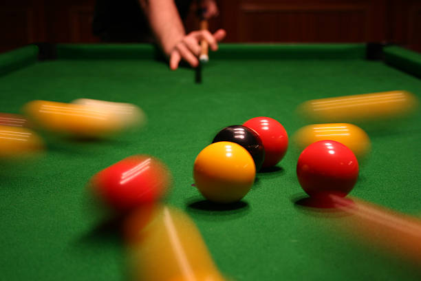 breaking pool balls - cue ball stock pictures, royalty-free photos & images