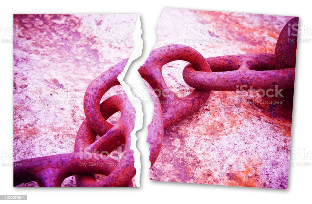 Breaking The Chains Concept Image With A Ripped Photo Of An