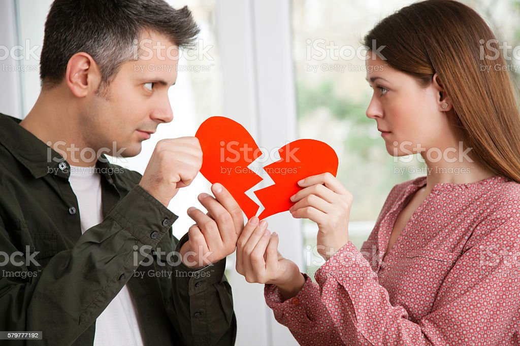 Breaking up the relationship stock photo
