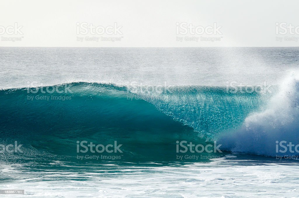 Breaking wave at reef in Sal, Cape Verde (Ponta Preta). stock photo