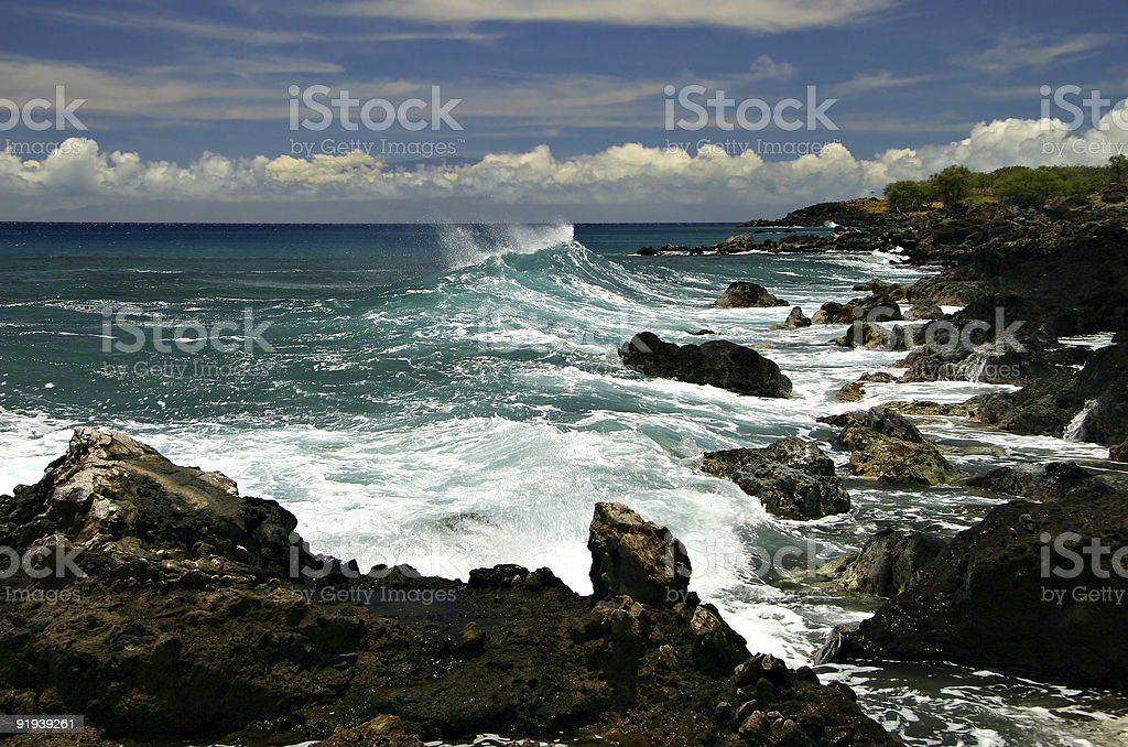 Breaking Wave On A Rocky Shore - Hawaii royalty-free stock photo