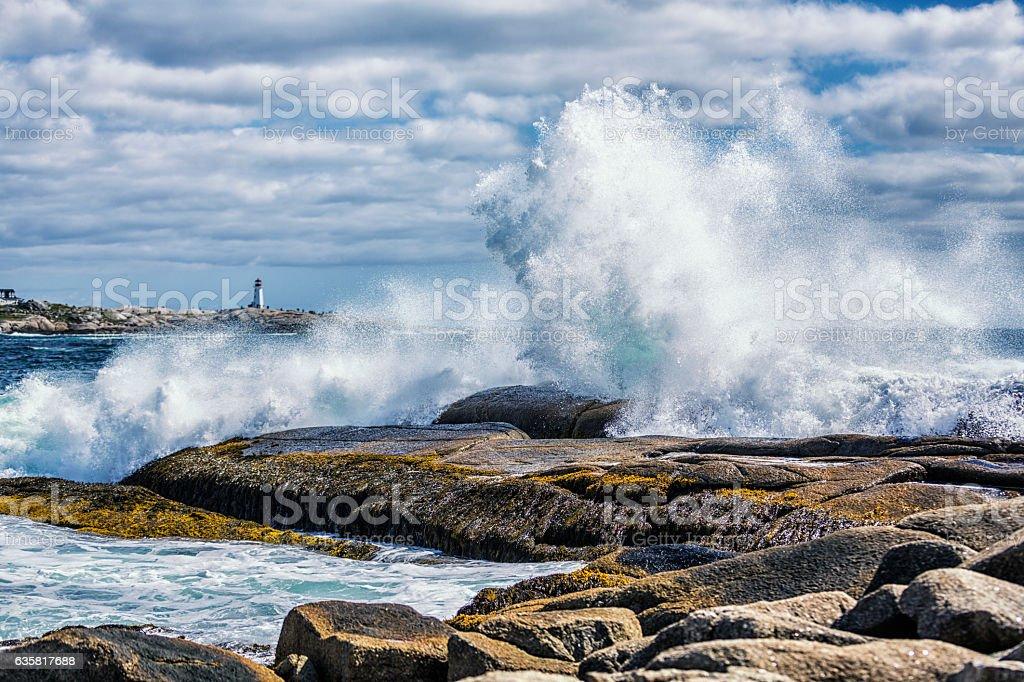 Breaking Windblown Surf Waves Crashing Peggy's Cove Canada Coastline Rocks stock photo