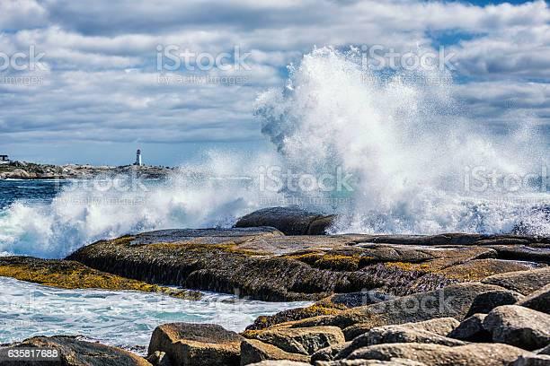 Photo of Breaking Windblown Surf Waves Crashing Peggy's Cove Canada Coastline Rocks