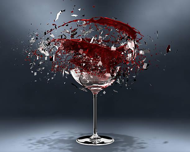 Breaking wine glass stock photo