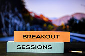 istock Breakout Sessions on the sticky notes with bokeh background 1158519209