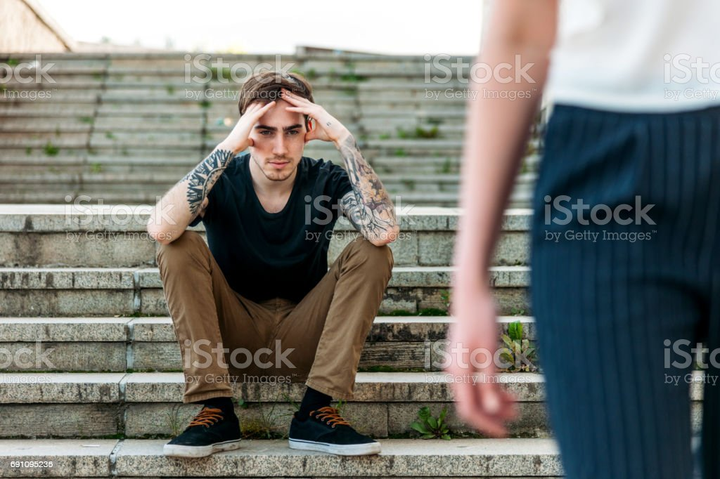 Breakup Couple With Sad Boyfriend And Girlfriend Walking