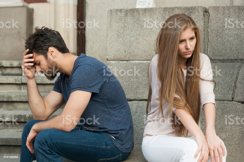 Breakup Of A Couple With Bad Girl And Sad Boyfriend Stock