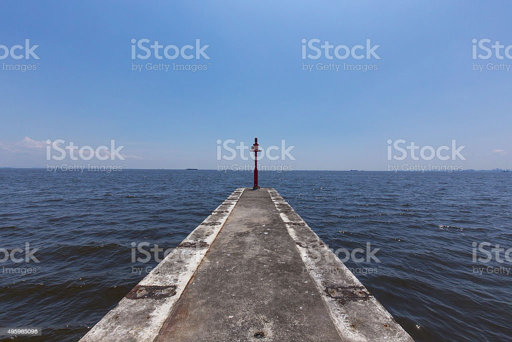 Breakwater and the horizontal line stock photo
