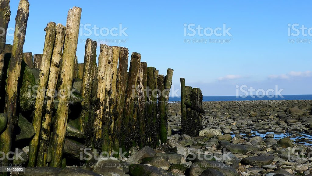 Breakwater at Lynmouth stock photo