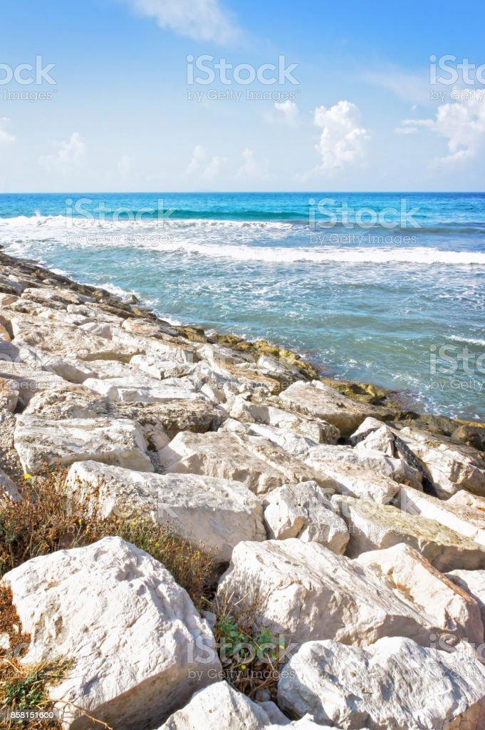 Breakwater at San Felice Circeo port Latina Italy stock photo