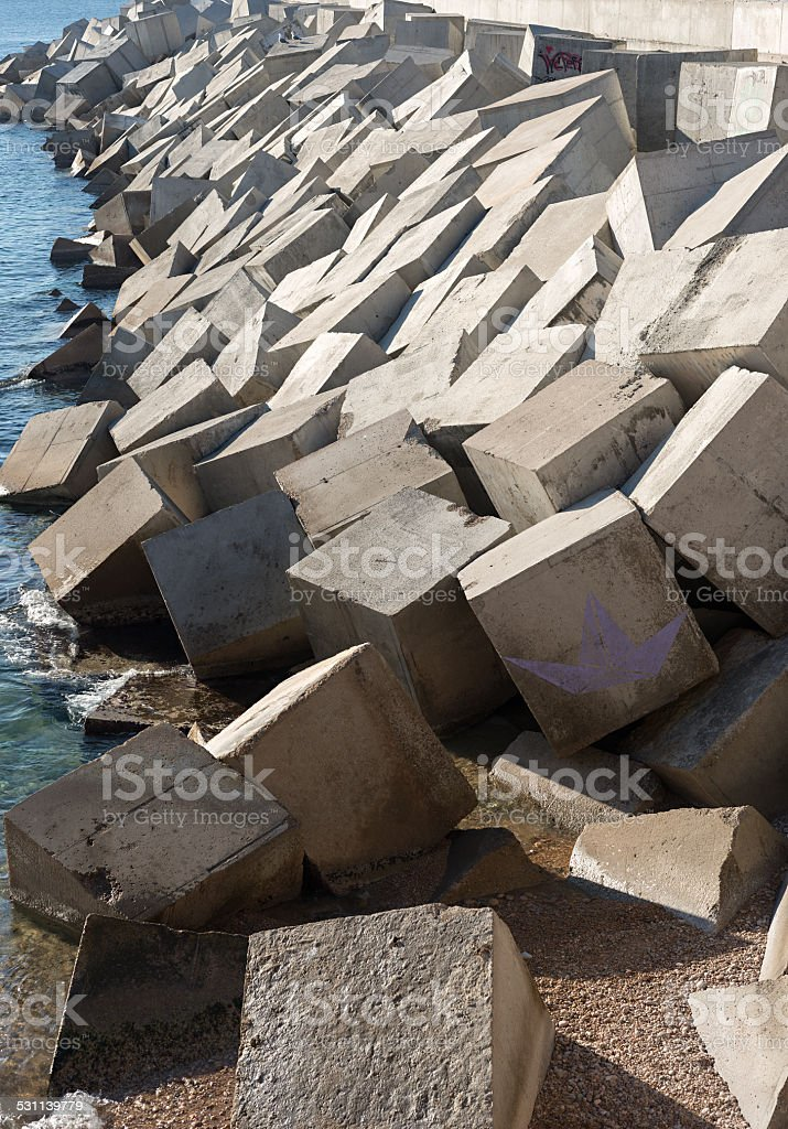 Breakwater cement blocks stock photo