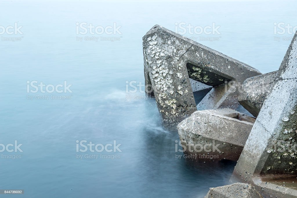 Breakwater covered with seashell. stock photo