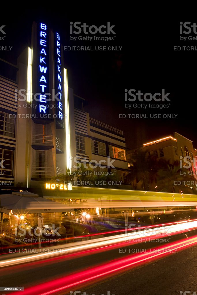Breakwater Hotel, South Beach, Miami, Florida royalty-free stock photo