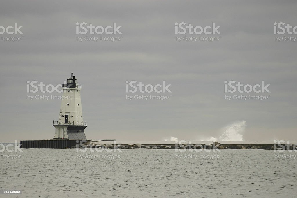 Breakwater Lighthouse Storm, Ludington Michigan royalty-free stock photo