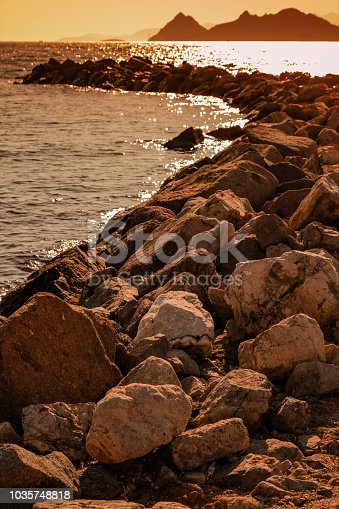 Breakwater structure made from big rocks in Bodrum, Turkey