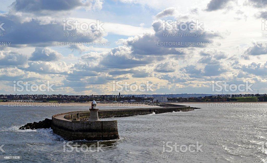 Breakwater wall in Tynemouth. stock photo