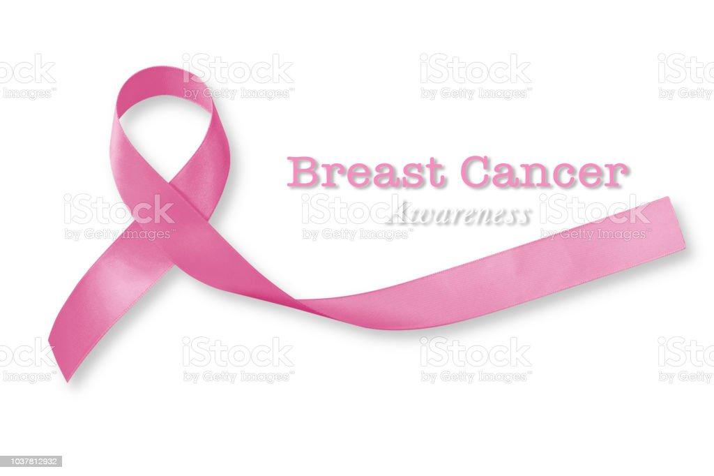 Brust Krebs Sensibilisierungskampagne mit Rosa Schleife auf weißem Hintergrund (Clipping-Pfad) Satinschleife symbolischen Konzept Hilfe Unterstützung auf Frauen Patienten Leben mit Krankheit weibliche Krankheit – Foto