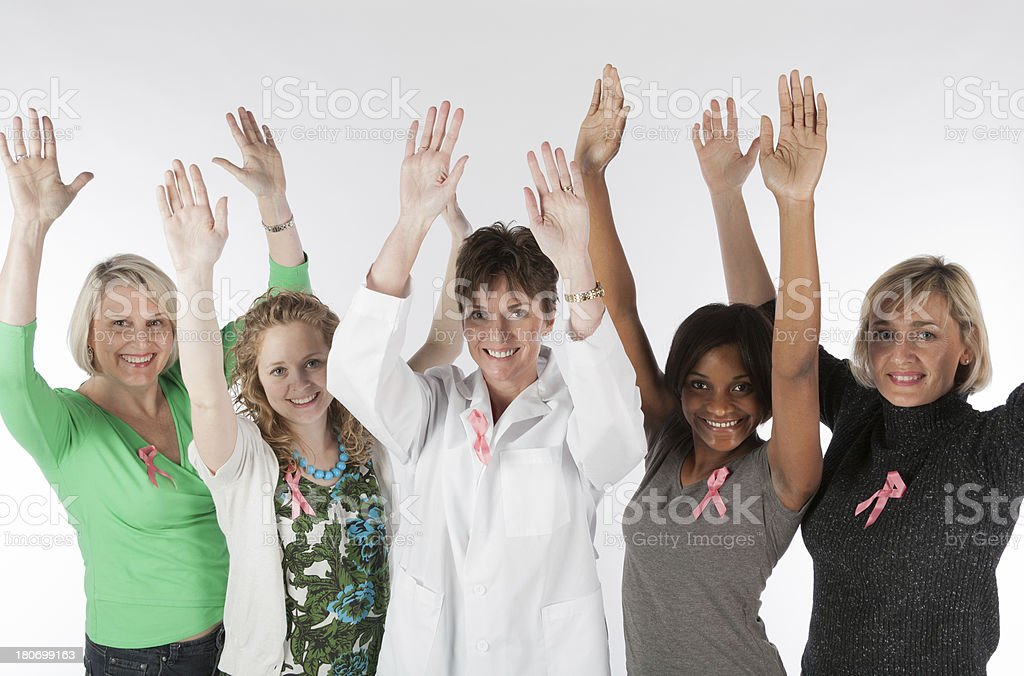 Breast Cancer Awareness Group of Women royalty-free stock photo