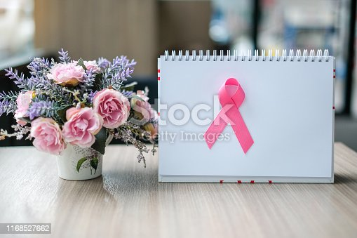 istock Breast Cancer Awareness month (October), Pink Ribbon on white paper for supporting people living and illness. Woman Healthcare and World cancer day concept with copy space for your text 1168527662