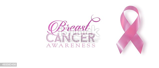 istock Breast cancer awareness ribbon banner background 493560456