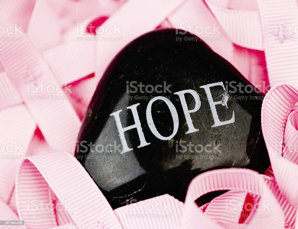Breast Cancer Awareness Ribbons with Message of Hope royalty-free stock photo