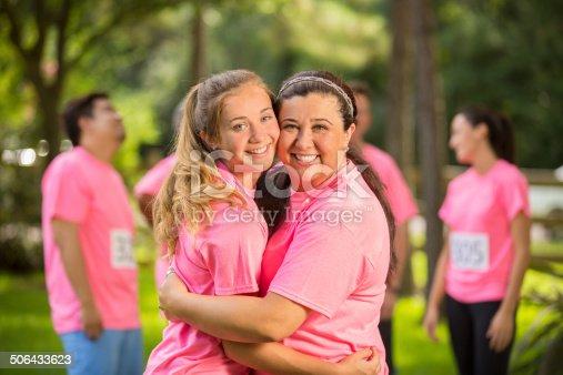 istock Breast Cancer Awareness volunteers. Mother, daughter. Charity race. 506433623