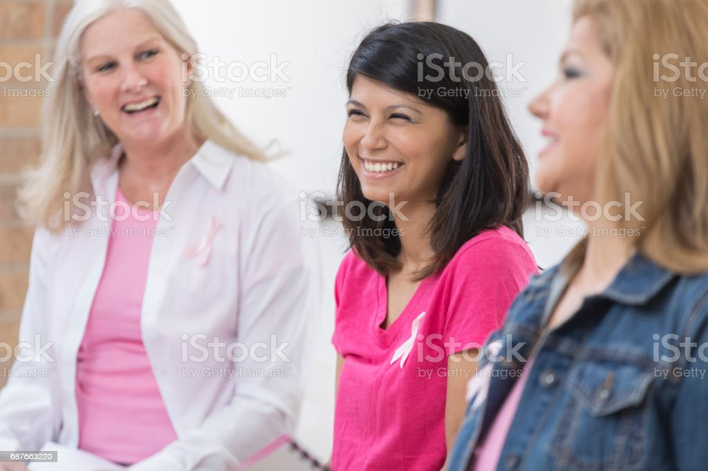 Breast cancer survivors participate in support group stock photo